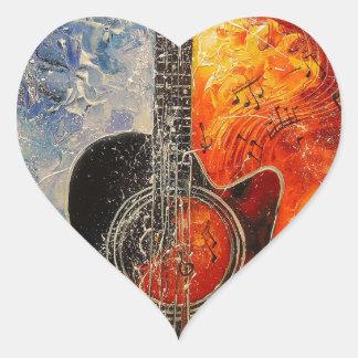 The rhythms of the guitar heart sticker