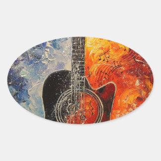 The rhythms of the guitar oval sticker
