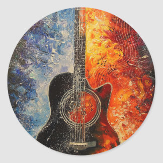The rhythms of the guitar round sticker
