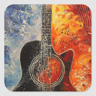 The rhythms of the guitar square sticker