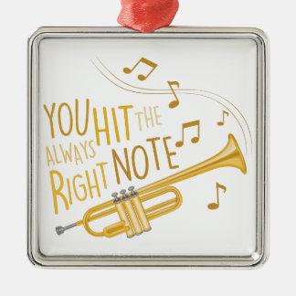 The Right Note Silver-Colored Square Ornament