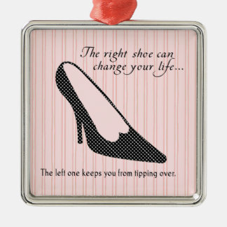 The Right Shoe - Pink Silver-Colored Square Ornament
