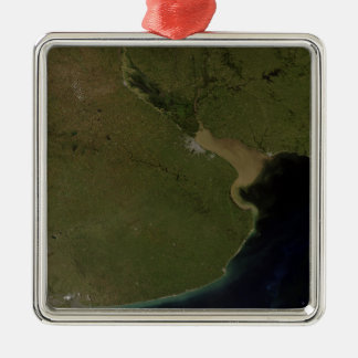 The Rio de la Plata estuary Silver-Colored Square Ornament