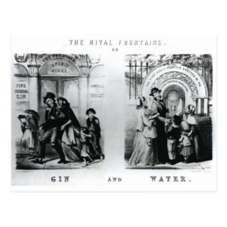 The Rival Fountains or Gin and Water Postcard