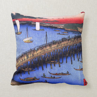 The River Bank by Ryogoku Bridge Throw Pillow