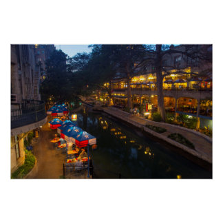 The Riverwalk At Dusk In Downtown San Antonio Poster