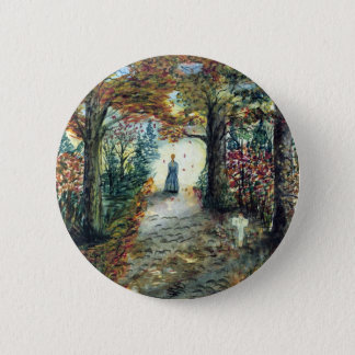 The Road Home  autumn watercolor 2 Inch Round Button