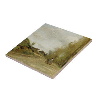 The Road in Gouvieux  by Camille Corot Ceramic Tile