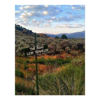 'The Road Less Traveled' Sign Mountain Desertscape Custom Letterhead