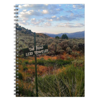 'The Road Less Traveled' Sign Mountain Desertscape Notebooks