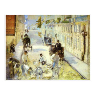 The road-menders, Rue de Berne by Edouard Manet Postcard