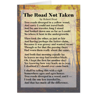 The Road Not Taken - Robert Frost Poem Card