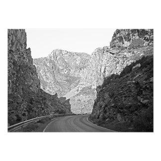 The road running among the rocks photo print