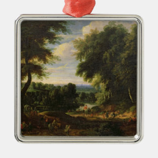 The Road to Boitsfort from Auderghem Silver-Colored Square Ornament