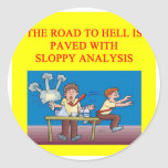 the road to hell round stickers