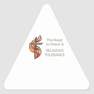 The Road To Peace Is Religious Tolerance Triangle Sticker