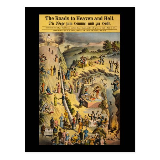 The Roads to Heaven and Hell Post Card