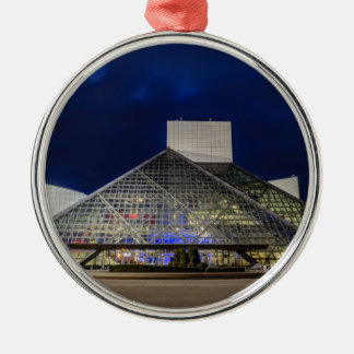 The Rock and Roll Hall of Fame at Dusk Silver-Colored Round Ornament
