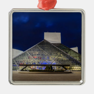 The Rock and Roll Hall of Fame at Dusk Silver-Colored Square Ornament