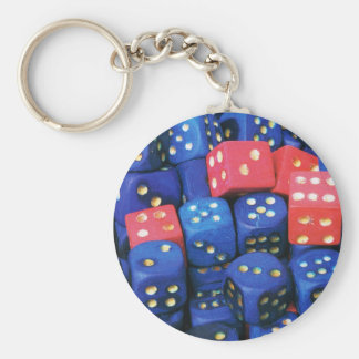 The roll of a dice keychains
