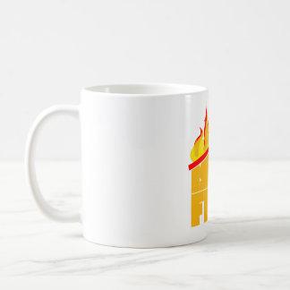 The roof is on fire logo coffee mug