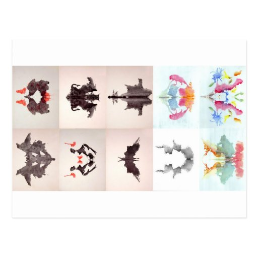 The Rorschach Test Ink Blots All 10 Plates 1-10 Post Card