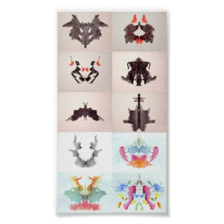 The Rorschach Test Ink Blots All 10 Plates 1-10 Poster