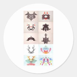 The Rorschach Test Ink Blots All 10 Plates 1-10 Round Sticker