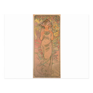 The rose by Alphonse Mucha Postcard