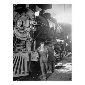 The Roundhouse Gals Vintage Locomotive Postcard