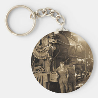 The Roundhouse Rosies of World War I Vintage Basic Round Button Keychain