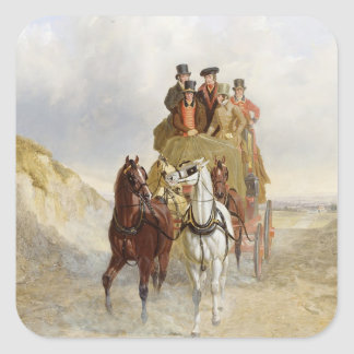 The Royal Mail Coach on the Road, 1841 (oil on pan Square Sticker