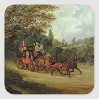 The Royal Mail Coach with Passengers (oil on canva Square Sticker
