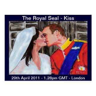 The  Royal Seal - kiss - postcard-pastel art Postcard