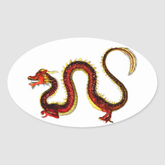 The Ruby Dragon Oval Sticker