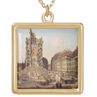 The Ruins of the old Kreuzkirche, Dresden Gold Plated Necklace