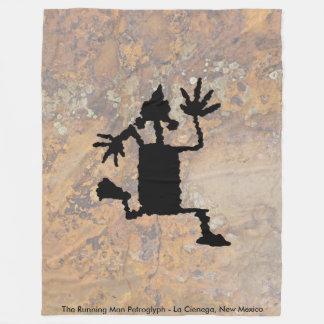 The Running Man Petroglyph Fleece Blanket