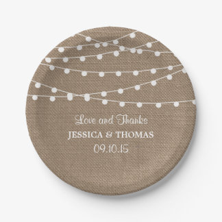The Rustic Burlap String Lights Wedding Collection 7 Inch Paper Plate