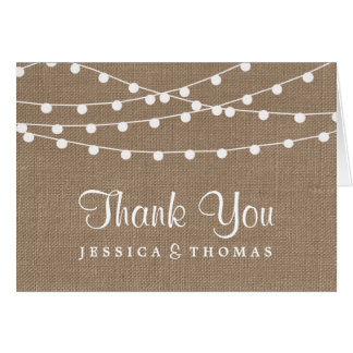 The Rustic Burlap String Lights Wedding Collection Note Card