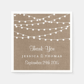 The Rustic Burlap String Lights Wedding Collection Disposable Napkin