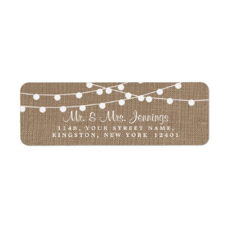 The Rustic Burlap String Lights Wedding Collection Return Address Label