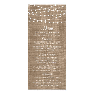 The Rustic Burlap String Lights Wedding Collection Rack Card Template
