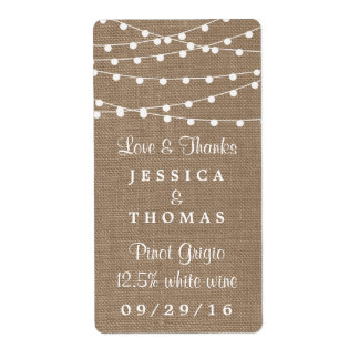 The Rustic Burlap String Lights Wedding Collection Shipping Label