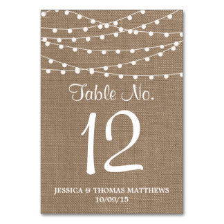 The Rustic Burlap String Lights Wedding Collection Table Cards