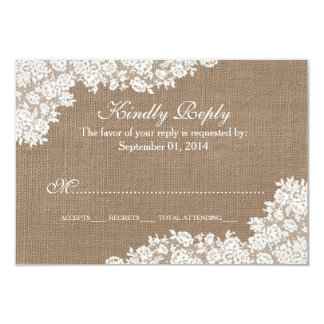 "The Rustic Burlap & Vintage White Lace Collection 3.5"" X 5"" Invitation Card"