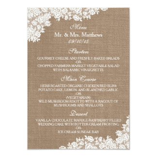 "The Rustic Burlap & Vintage White Lace Collection 4.5"" X 6.25"" Invitation Card"