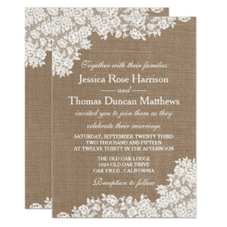 """The Rustic Burlap & Vintage White Lace Collection 5"""" X 7"""" Invitation Card"""