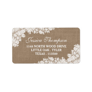 The Rustic Burlap & Vintage White Lace Collection Label