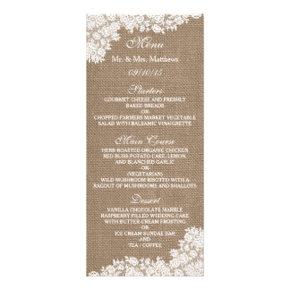 The Rustic Burlap & Vintage White Lace Collection Rack Cards
