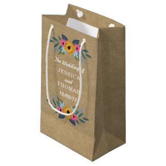 The Rustic Kraft Floral Wreath Wedding Collection Small Gift Bag